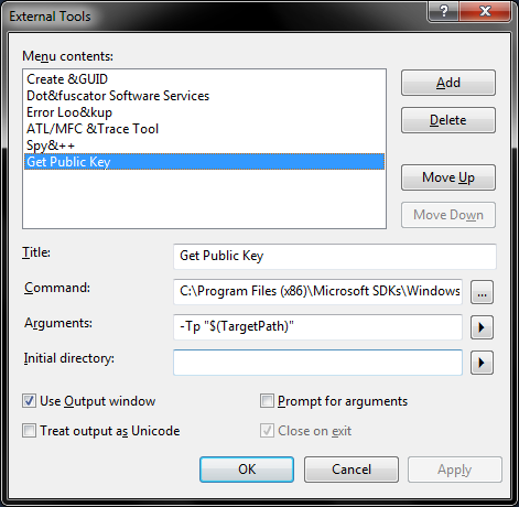 External Tools screenshot